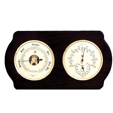 Bey-Berk Brass and  Ash Wood Barometer/Thermometer/Hygrometer