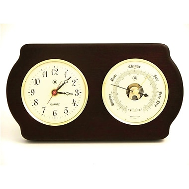 Bey-Berk Brass and  Ash Wood Quartz Clock/Barometer