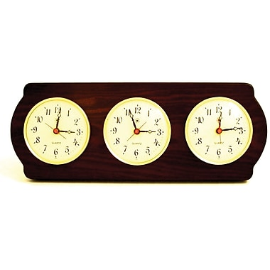 Bey-Berk Brass/Ash Wood  Multi Zone Clock With 3 Brass Plates
