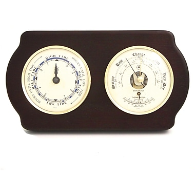 Bey-Berk Brass and  Ash Wood Tide Clock/Barometer/Thermometer