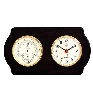 Bey-Berk Brass and  Ash Wood Clock/Thermometer/Hygrometer