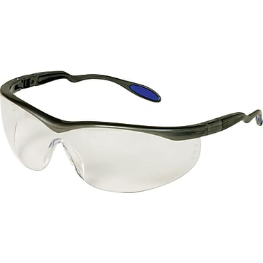 Dentec Columbia Slate Frame Safety Glasses with Ratchet Temples, Clear Lens