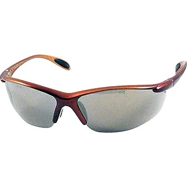 Dentec Catalina Safety Glasses, Brown Metallic Frame with Paddle Temples, Indoor/Outdoor Lens