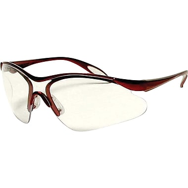 Dentec Citation 937 Safety Glasses Series Eyewear with Paddle Temples, Burgundy Frame & Clear Lens