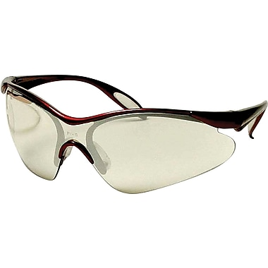 Dentec Citation 937 Safety Glasses Eyewear with Paddle Temples,Burgundy & In/Outdoor Mirrored Lens