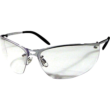 Dentec MEIV Silver Metal Frame Safety Glasses with Spatula Temples, Clear Lens