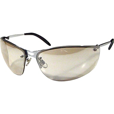 Dentec MEIV Silver Metal Frame Safety Glasses with Spatula Temples, Silver Mirror Grey Lens