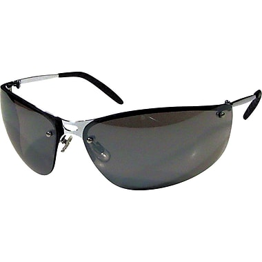 Dentec MEIV Silver Metal Frame Safety Glasses with Spatula Temples, Indoor/Outdoor Lens