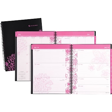 2013/2014 AT-A-GLANCE® Academic Hollyhock Weekly/Monthly Large Appointment Book, 8 1/2in. x 11in.
