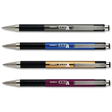 Zebra 301A Retractable Ballpoint Pens, Fine Point, Black Ink