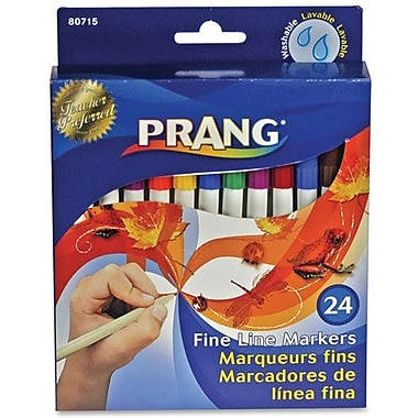 Prang Washable Fineline Marker Set, 24 Assorted Colours