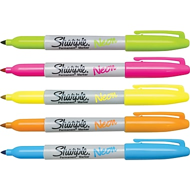 Sharpie® Permanent Markers, Neon, 5/Pack