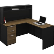 Bestar 110851-98 Corner Desk, Black/Milk Chocolate Bamboo
