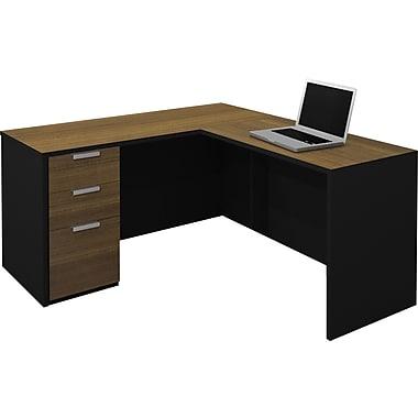 Bestar 110850-98 Corner Desk, Black/Chocolate Brown