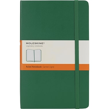 Moleskine Classic Notebook, Large, Ruled, Oxide Green, Hard Cover, 5in. x 8-1/4in.