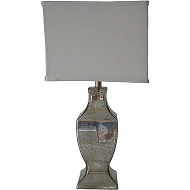 Fangio Silver Mercury Table Lamp, Square White