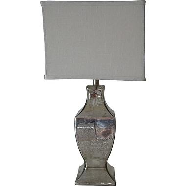 Fangio Silver Mercury Table Lamp, Square White