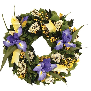 Iris Wildflower  Dried Floral Wreath, 16in