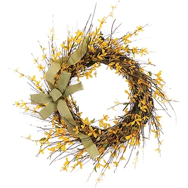 Forsythia Bright Blossoms  Dried Floral Wreath, 22in