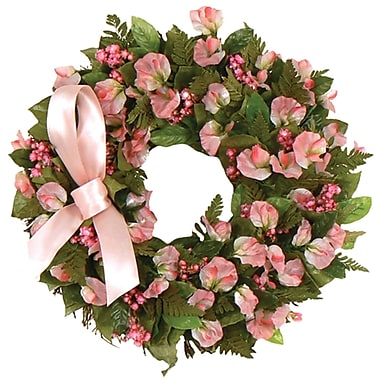 Breast Cancer Awareness Month Floral Wreath, 16in