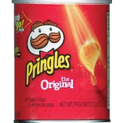 Pringles® Grab and Go Potato Crisps, Original, 1.3 oz. Cans, 36 Cans/Box
