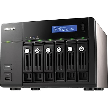 QNAP® TS-669-PRO High Performance 6-Bay Network Attached Storage Server, 24 TB