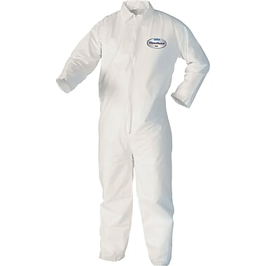KleenGuard A40 Liquid Apparel Coveralls, Hooded, White, Extra Large, 25/Carton