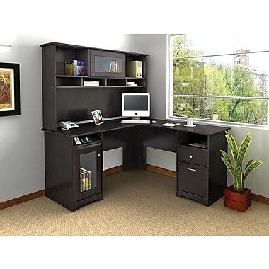 Bush Cabot 60in. L Desk & Hutch Office Bundle, Espresso Oak