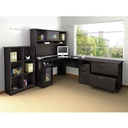 "Bush Furniture Cabot 66.46"" x 90.83"" x 90.83""-Desk with Hutch, 6 Cube Bookcase and Lateral File, Espresso Oak (CAB003EPO)"