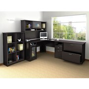 Bush Cabot L Desk, Hutch, Bookcase and Lateral File Office Bundle, Espresso Oak