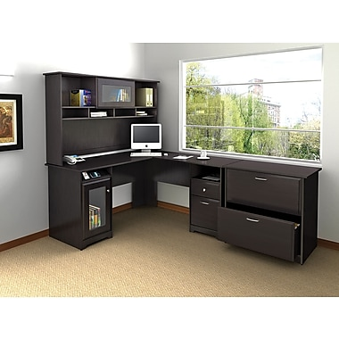 Bush Cabot L Desk, Hutch & Lateral File Office Bundle, Espresso Oak