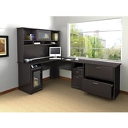 Bush Furniture Cabot L-Desk with Hutch and Lateral File, Espresso Oak