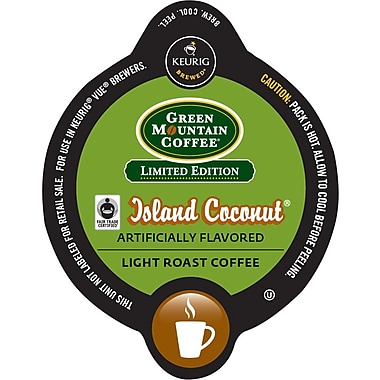 Keurig Vue Pack Green Mountain Island Coconut Coffee, Regular, 16/Pack