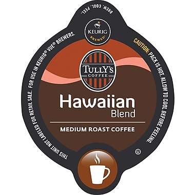 Keurig Vue Pack Tully's Hawaiian Blend Coffee, Regular, 16/Pack