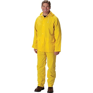 Falcon 3-Piece Rainsuit With Jacket, Yellow, Large, .35mm, PVC/Polyester Fabric
