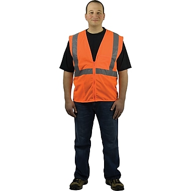 PIP Hi-Vis Safety Vest, ANSI Class 2, Zipper Closure, Orange, Extra Large