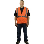 PIP Hi-Vis Safety Vest, ANSI Class 2, Zipper Closure, Orange, Large