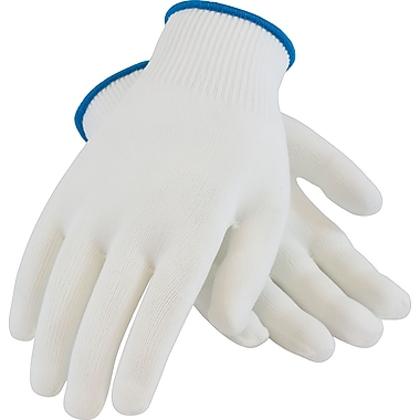 CleanTeam Seamless Knit Work Gloves, 100% Nylon, White, 12 Pairs