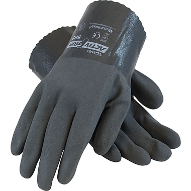 ActivGrip Chemical Resistant Work Gloves, Cotton With MicroFinish Nitrile Coating, Gray