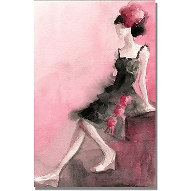 Trademark Global Beverly Brown in.Black Dress with Pink Rosesin. Canvas Art, 24in. x 16in.