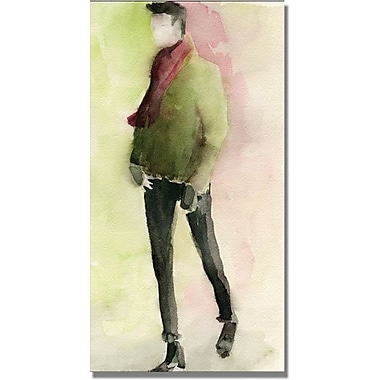 Trademark Global Beverly Brown in.Man in a Green Sweaterin. Canvas Art, 47in. x 24in.