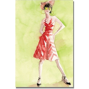 Trademark Global Beverly Brown in.Red and White Striped Dressin. Canvas Arts