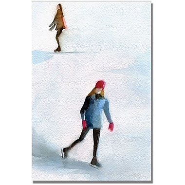 Trademark Global Beverly Brown in.Two Girls Ice Skatingin. Canvas Art, 47in. x 30in.
