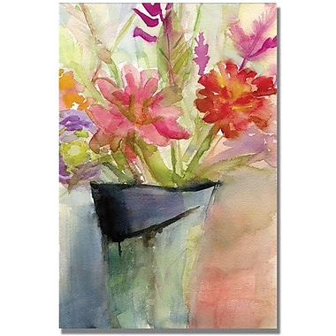 Trademark Global Beverly Brown in.Zinnias in a Vasein. Canvas Art, 24in. x 16in.