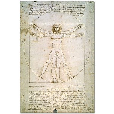 Trademark Global Leonardo da Vinci in.The Proportions of the Human Figurein. Canvas Art, 47in. x 30in.