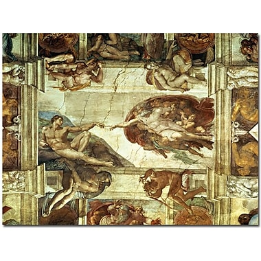 Trademark Global Michelangelo in.The Creation of Adamin. Canvas Art, Vintage, 35in. x 47in.