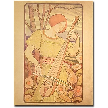 Trademark Global Paul Brethon in.Young Woman with Lute, 1872in. Canvas Arts