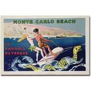 "Trademark Global Georges Goursat ""Monte Carlo Beach 1932"" Canvas Art, 30"" x 47"""