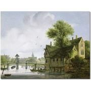 Trademark Global Joseph Faruquharson Town with A Bridge Canvas Art, 35 x 47