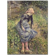 "Trademark Global Camille Pissarro ""Girl with a Stick 1881"" Canvas Art, 32"" x 26"""